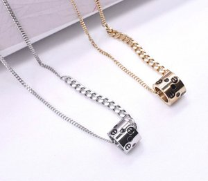 Couple Pendant Necklace For Men And Women Titanium Steel Silver Gold Rotatable European And American Ins Style Versatile Fashionable