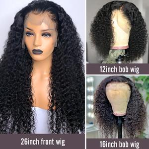 13x6 delantera del cordón pelucas de cierre flojo de la onda profunda brasileña del pelo humano de Remy pelucas 150 de alta densidad para las mujeres Negro