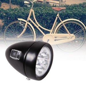 Neue wasserdicht Fahrrad-Retro Zubehör Frontleuchte Bracket Vintage-6 LED-Scheinwerfer Sicherheit Fahrradbeleuchtung Schwarz / silbrig heiß