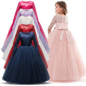 Vintage Flower Girls Dress for Wedding Evening Children Princess Party Pageant Long Gown Kids Dresses for Girls Formal Clothes T200709