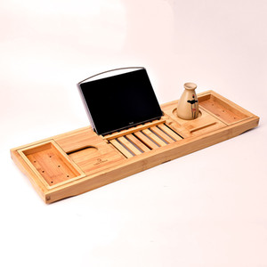 Creative Bamboo Bathtub Tray with Extending Sides Reading Rack Tablet Holder Cellphone Tray and Wine Glass Holder LX1550