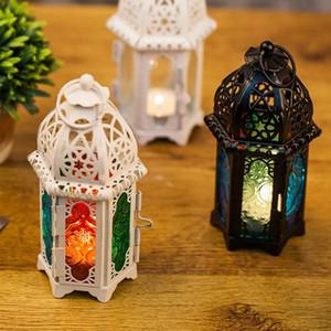 Titulares marroquina Vintage prova de vento da vela de suspensão votiva Party Decor casamento castiçal Candle Lantern Vidro Ferro Home 7 * 17 centímetros