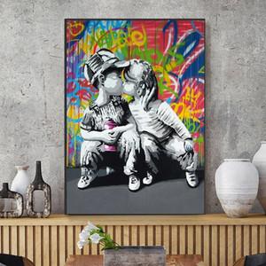 Salon Yatak odası Sevimli Ev Dekorasyonu için Moda Boy ve Kız Pop Art Resim Poster Boyama Modern Soyut Wall Art Graffiti Tuval Yağ