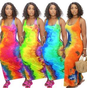 Designer donne maxi abiti lunghi Tie Dye maniche casual Gonna lunga sexy U-collo Big Swing pullover dei vestiti di estate più il formato S-5XL 8817