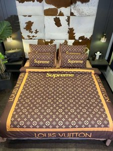 Markalı Cotton 4adet Yatak Moda Tasarımcısı Dokuma Nevresim Ev Tekstili Nevresim 2 Yastık Yatak Sheet ayarlar