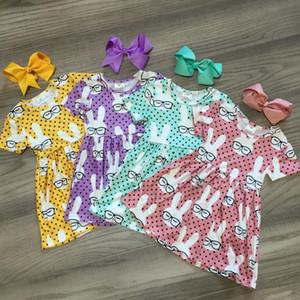 sring summer Easter baby girls children clothes boutique milk silk dress sunglass short sleeve knee length match bow