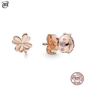 2019 Spring 925 Sterling Silver Four-Leaf Clover and Ladybird Original PAN Stud Earrings For Women Bead Charm Fine Jewelry