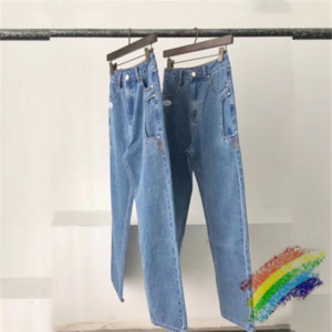 2020FWSS джинсы Мужчины Женщины 1 Top-Quality Streetwear Джинсовые брюки ковбой Кнопка джинсы