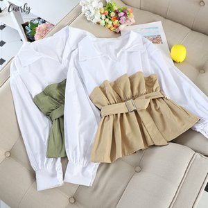 2020 Autumn Female Spliced Blouse Tops Long Sleeve Casual Turn Down Collar Sashes Regular White Ol Casual Women Loose Blouses