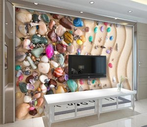 Custom any 3d Murals Beach sand shell stones Wallpaper Living Room TV Backdrop Wall Mural Luxury Home Decor Wall Papers