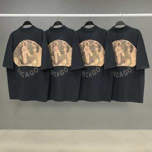 JESUS IS KING T Drei Götter Religiöse Ölgemälde T-Shirt Vintage kurzen Ärmeln Summer Street Männer Frauen T-Shirt