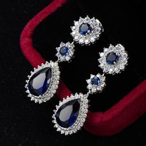 Haut de gamme transfrontalière New Boucles d'oreilles en platine plaqué saphir bleu Zircon Bijoux saphir long Boucles d'oreilles Femme Boucles d'oreilles