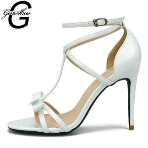 Scarpe GENSHUO estate delle signore Donna Donne Moda pelle verniciata di gladiatore sandali per la donna del nodo dell'arco Tacchi alti sandali grande formato