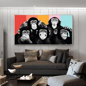Kids Room Wall Decor Funny Monkeys Graffiti Canvas Paintings on Wall Posters and Prints Modern Animals Wall Art Canvas Pictures