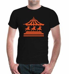Mens Unisex Short Sleeve T-Shirt Stripes Riding Gear business Fairground Carousel