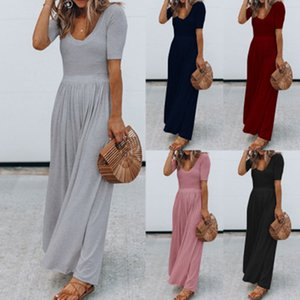 Women Jumpsuits Casual Solid Color Short Sleeve Sexy Long Wide Leg Jumpsuit Summer O-neck Vintage Long Rompers Simple Lady