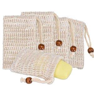 Jabón Exfoliante bolsa bolsa de malla para el baño de algodón de lino Jabones de ahorro adecuados para el baño que hace espuma de jabón Ahorro Bolsa 9 * 14.5cm CCA12328 120pcs