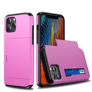 Faites glisser le portefeuille de cartes de crédit slot PC Phone Case pour iPhone 12Pro Max XR XS Max X 8 7 6 6S plus TPU bord Armure anti-choc Couverture arrière