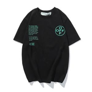 BLANCO 2020 principios de la primavera nuevos Flecha Impresión de moda ronda suéter de cuello de manga corta camiseta casual para hombres y womenCRT1