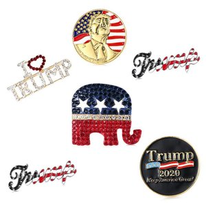 Style 5 Trump Broche Pins Lettre strass Brillante Glitter Broches Femmes Mode Crystal Heart Pins Party cadeau DHA96