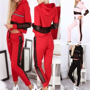 2 Pieces fashion womens tracksuits   hoodies + slim pants Bare belly button womens designer Tracksuits casual Suit Sweatshirt + pants