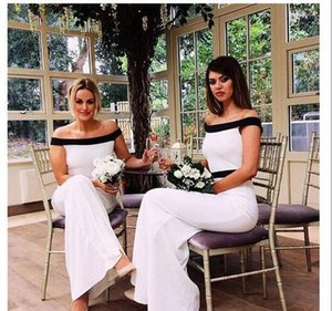 White And Black Bridesmaid Dresses Satin Wedding Guest Dresses Mermaid Off The Shoulder Formal Elegant Evening Party Dress Vestidos