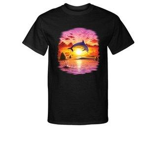 2020 Новая мода Tee Shirt Повседневный День дельфина - Закат T-Shirt