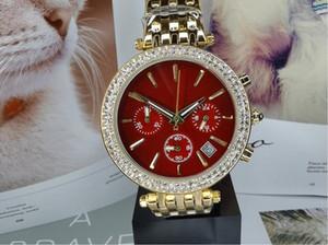 전체 기능 디자이너 숙녀 골드 시계 흰색 드레스 전체 다이아몬드는 여성 남성 스테인레스 스틸 시계 팔찌 시계
