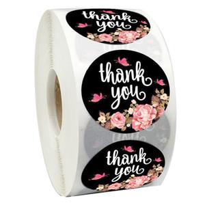 500pcs / roll Flor adesivos Obrigado selo da etiqueta Etiquetas Recompensa Rodada Scrapbooking para professor de escola papelaria bonito Supplies