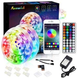 Stock en US Retail Box SMD 5050 LED RGB bandes lumières non-étanche App Bluetooth 44 touches RF Télécommande 12V 5A Alimentation