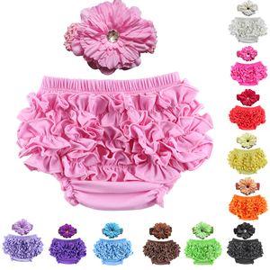 12 Cor do bebê Satin Ruffle Bloomers Pant Fralda Tampa Com Headband infantil Lace PP Calças da criança Crianças Ruffled Algodão Underwear Bloomers M2456