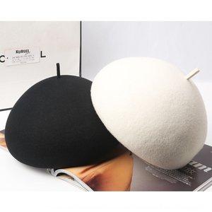 QdkET корейской литературы и искусство сплошного цвета ху цзя мао~d хуа Jia мао Шерсть художник шерстяных шерстяными дама британской трехмерная тыкву шляпа