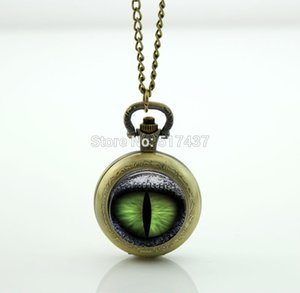 Cats Eye Pocket Watch Necklace Floating Memory Locket necklace Vintage Pocket Watch