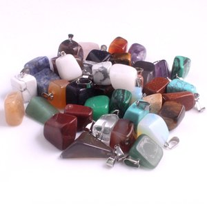 2NTDq Don't pick shape don't pick color random mixed color delivery natural stone crystal agate Miscellaneous stone necklace chain pendant c