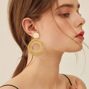 여성 합금 골드 도금 단다 보석 액세서리 도매에게 손수 등나무 짠 서클 드롭 귀걸이 간단한 귀걸이