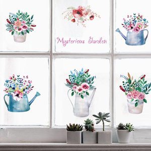 Beautiful Colorful Potted Flowers Wall Stickers Garden Decoration Bonsai Living Room Kids Room Bedroom Home Decor on the Glasses