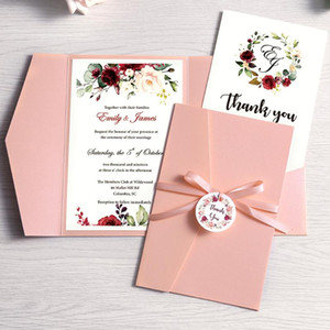 100pcs Convites do casamento de Rosa Azul Burgundy Pocket Cards com Envelope Partido personalizado Cumprimento com fita e Tag