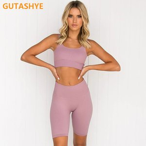 GUTASHYE 2pcs set Yoga Sets Women Seamless Shorts High Waisted Sports Pants Outdoor Biker Leggings Women Sports Gym Set