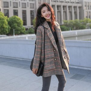 Woolen Loose Suit Coats Woman Chic England Wind Plaids And Tweeds Autumn Temperament Wool Outerwear Female Casual Fashion Jacket