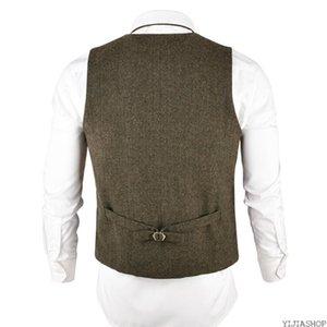 Nouveau kaki Tweed Vest Men Couverture Fitting Laine Mélange simple boutonnage Gilet Chevrons taille pour homme Blousons hommes