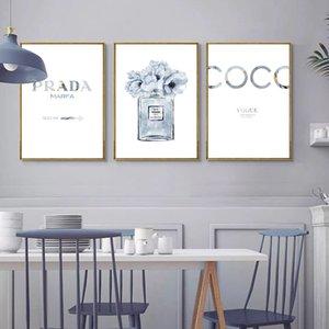 Bottiglia di profumo poster Alcohol Ink Stampe Profumo Fiore della tela di canapa Pittura Foto Art decorazione della parete parete per Soggiorno
