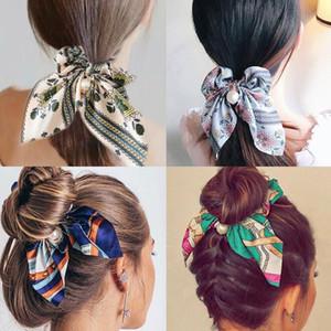 New Imprimir Bow Elastic Hair Bands Mulheres Corda de cabelo para meninas Titular de rabo de cavalo com pérola pingente scrunchie headbands acessórios de cabelo