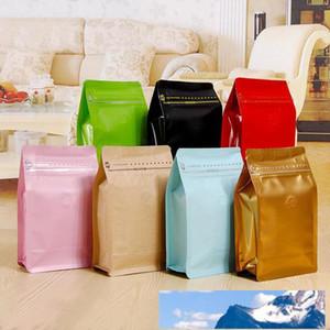 20 PC / Los, Box Beutel halbes Pfund Kaffee-Tasche mit Tasche mit Reißverschluss und One-Way Entgasungsventil, Aluminiumfolie Luftventil-Tee-Satz-Beutel