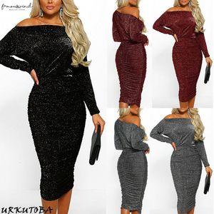 Plus Size Xl Bodycon Pencil Dress Womens Party 2020 Ladies Glitter Sequin Evening Midi Dresses Sexy Off Shoulder Vestidos