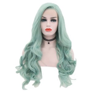 Hot Sale Mint Green Long Wavy Hair Cosplay Party Wigs With Baby Hair Heat Resistant Glueless Synthetic Lace Front Wigs For Women