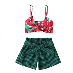 New Summer fruits baby girls suits cute Infant Outfits beach girls outfits tank tops+shorts 2pcs set baby girl clothes