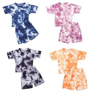 2021 Brand New ребёнки Boy Tie-краситель Одежда наборы лето с коротким рукавом футболки Топы + Шорты Брюки Детские Девушки Костюмы для 1-5Y