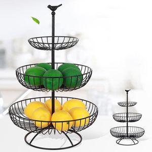 Household Tier 3 Placa da fruta bancada Bandeja do estilo do metal Fruit Basket Preto Vintage Levante Cesta de armazenamento
