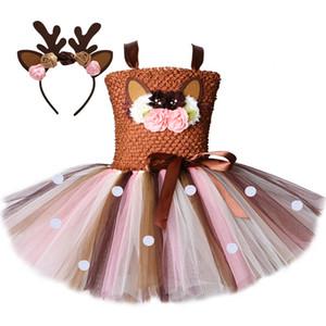 Flower Deer Tutu Dress Tulle Baby Girls Christmas Birthday Party Dress Kids Halloween Reindeer Elk Cosplay Costume with Headband T200713
