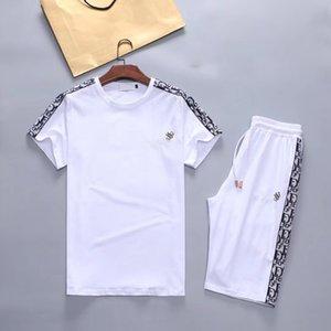 남성의 땀 정장 여름 조각은 조깅 스포츠 운동복 반팔 T 셔츠와 짧은 바지를 설정 비치 해변 휴가 캐주얼 2를 설정합니다